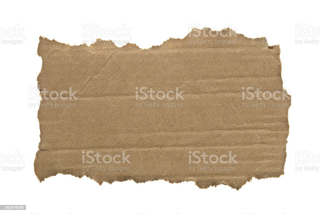 Ripped piece of cardboard isolated on white royalty-free stock photo