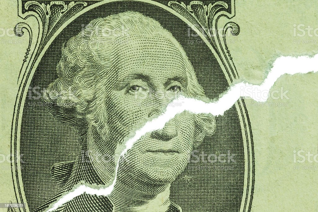 Ripped US Dollar Showing Upward Trend Chart royalty-free stock photo