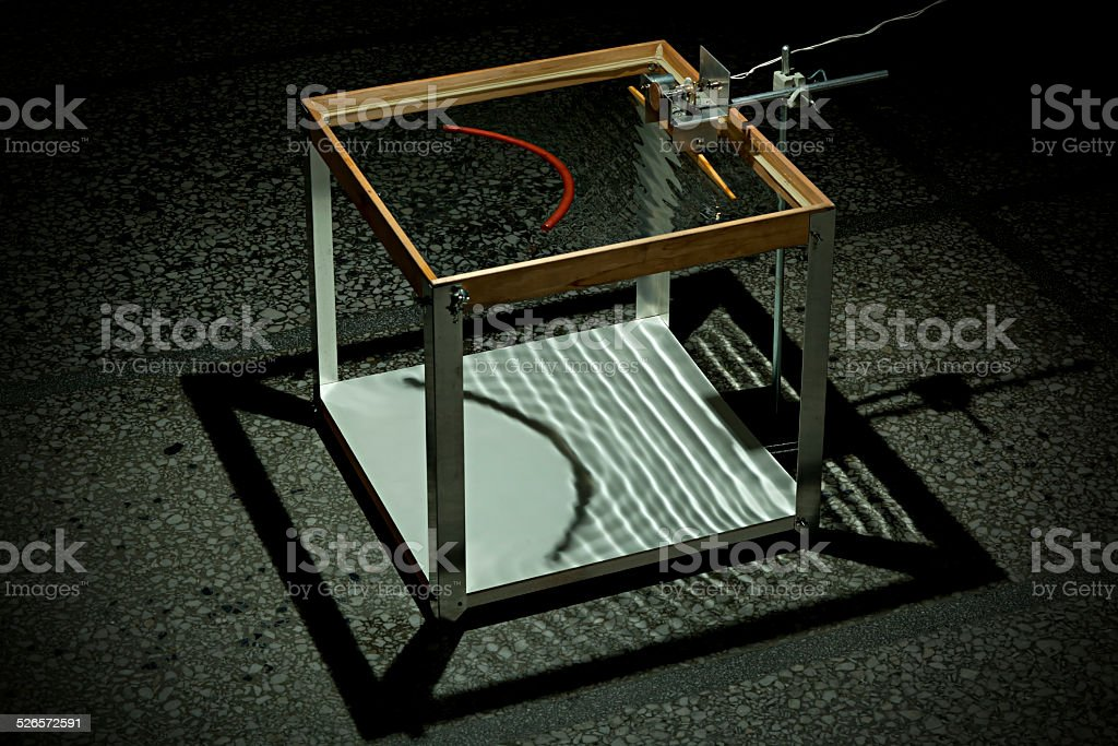 Ripple Tank Experiment Convex Reflection stock photo