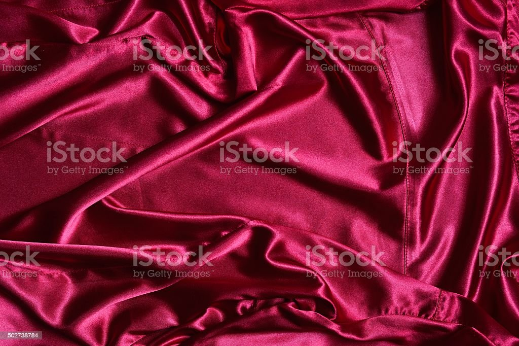 Rippled pink satin from above stock photo