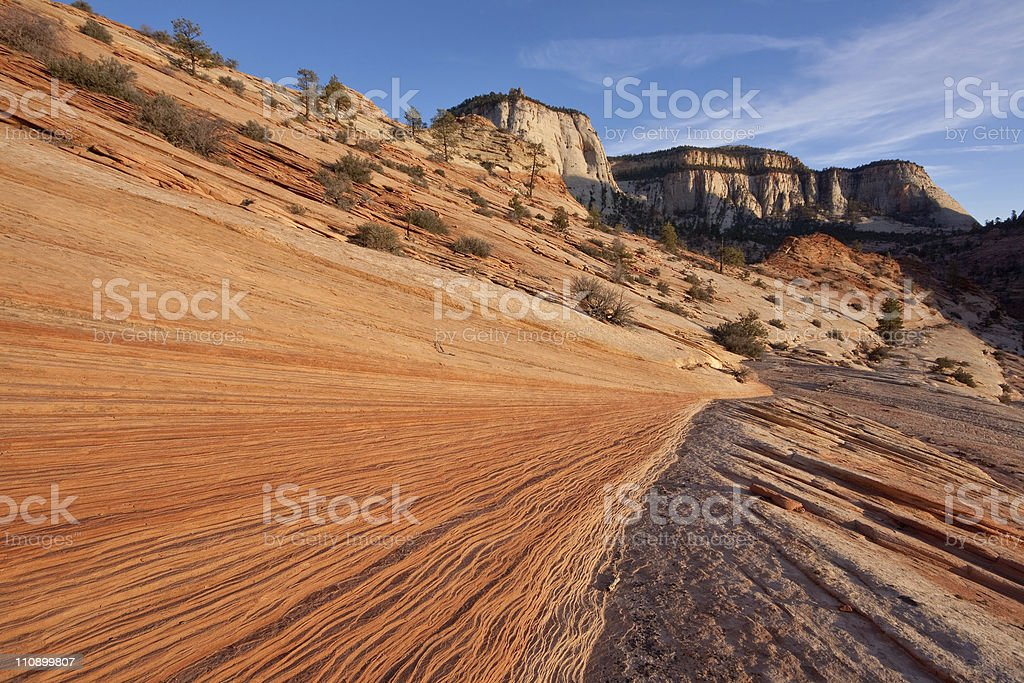Rippled sandstone formation at sunset in Zion National Park, Utah royalty-free stock photo