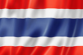 Rippled Thai flag in red white and blue