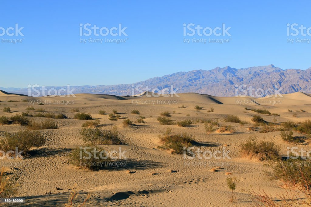 Ripples And Mountain Peaks. Death Valley National Park, California stock photo