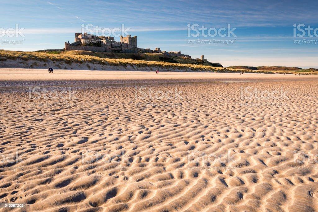 Ripples in sand on Bamburgh Beach stock photo