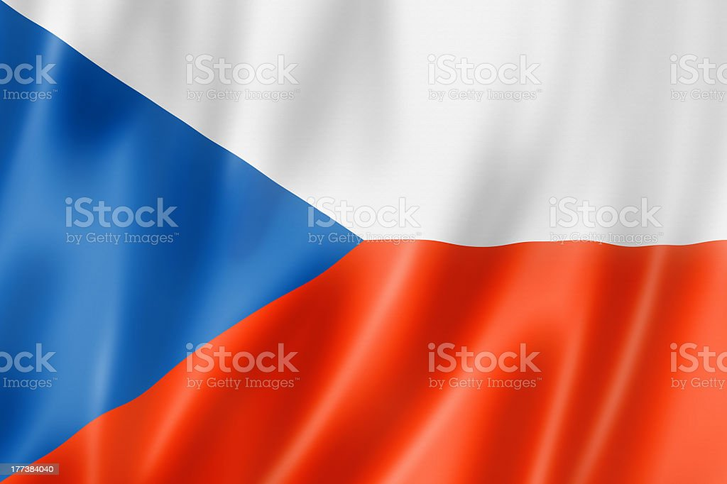 Rippling Czech flag in red white and blue stock photo