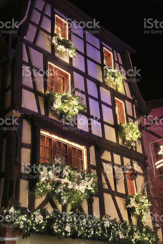 Riquewihr at Christmas stock photo