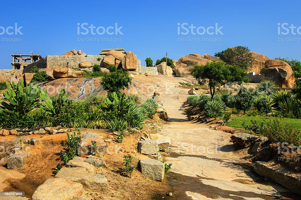 Rise on Hemakuta hill with ancient ruins, Hampi, Karnataka, India. stock photo
