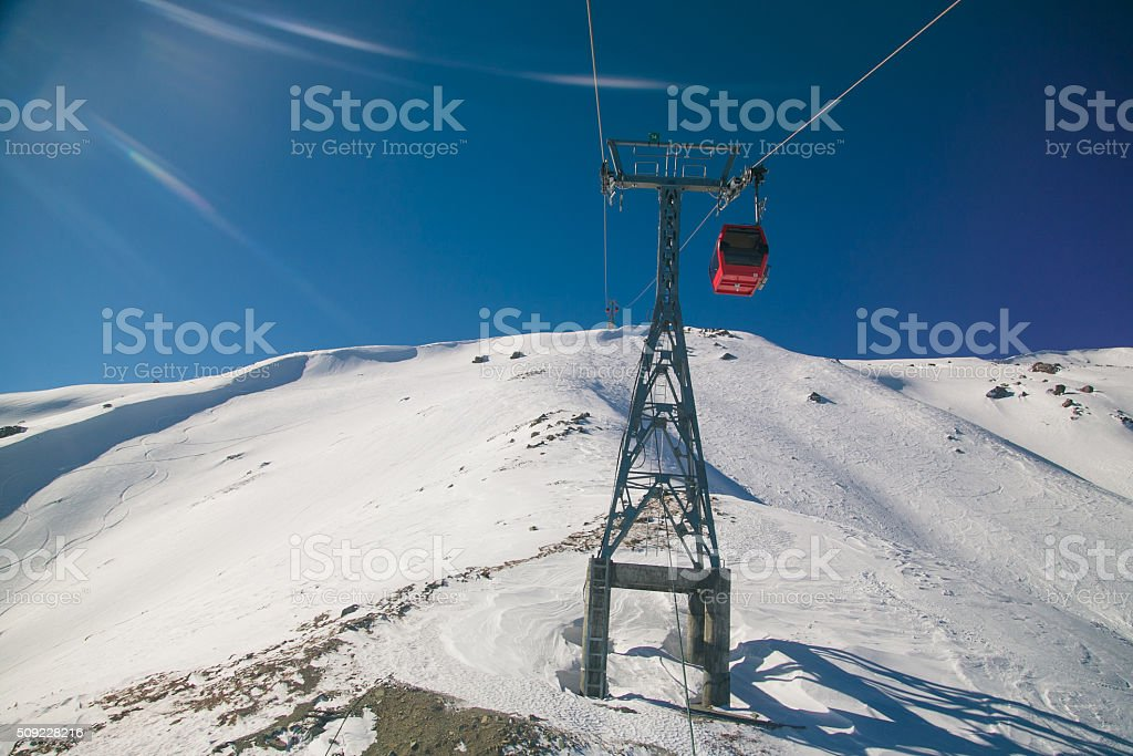 Rise to the top in ski resort of Gulmarg, India. stock photo