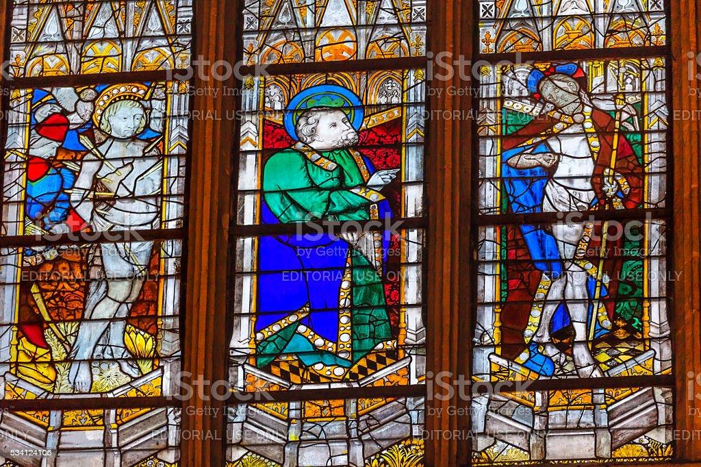 Risen Christ Stained Glass Saint Severin Paris France stock photo