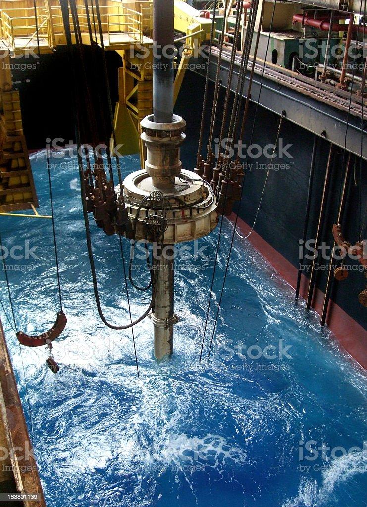 Riser and slip joint on drillship stock photo