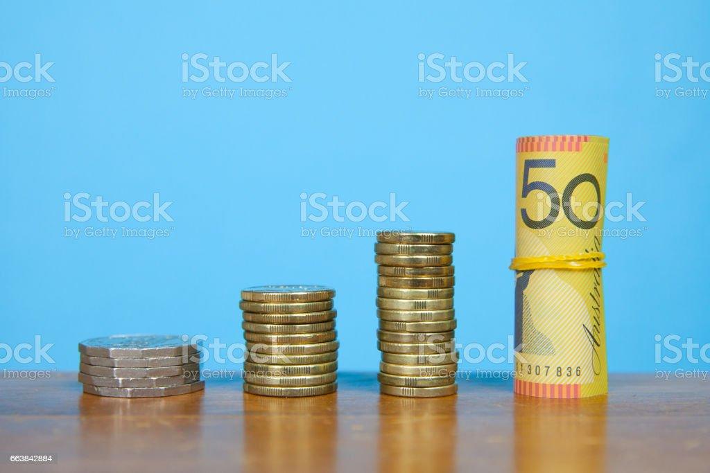Rising Australian Currency stock photo