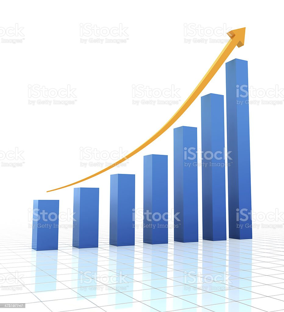 Rising chart, 3d render stock photo