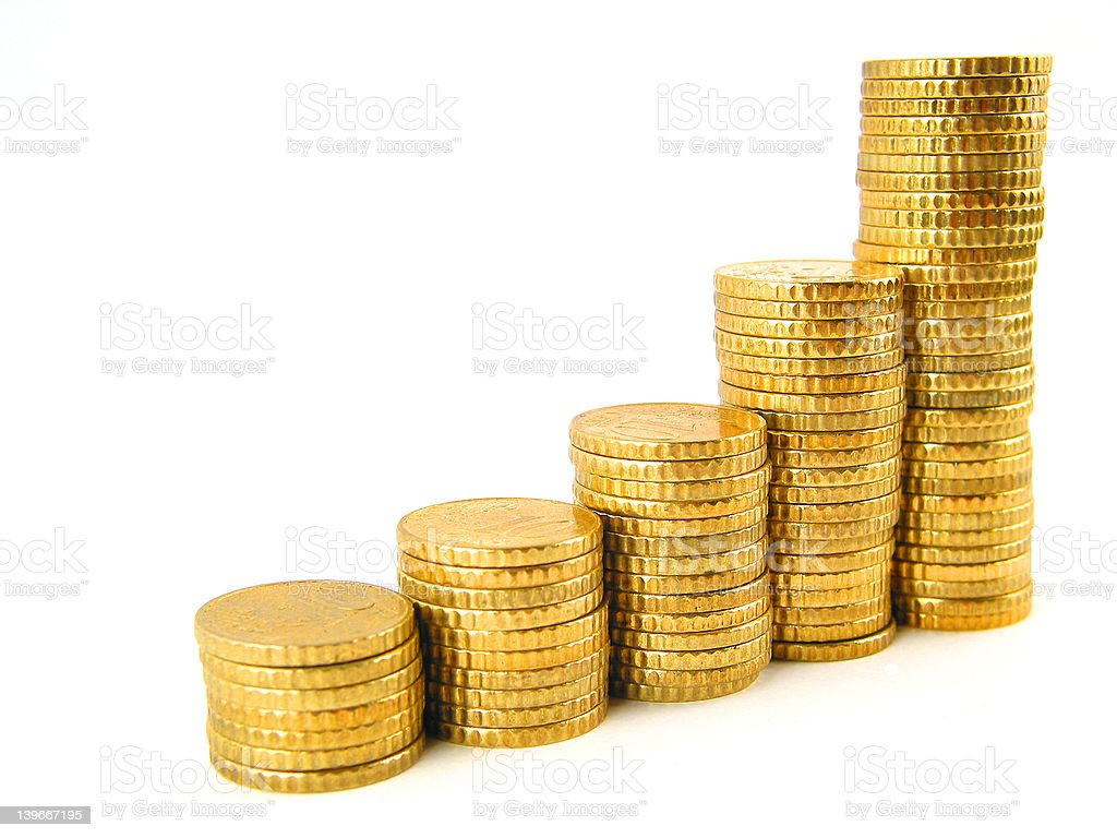 Rising coins royalty-free stock photo
