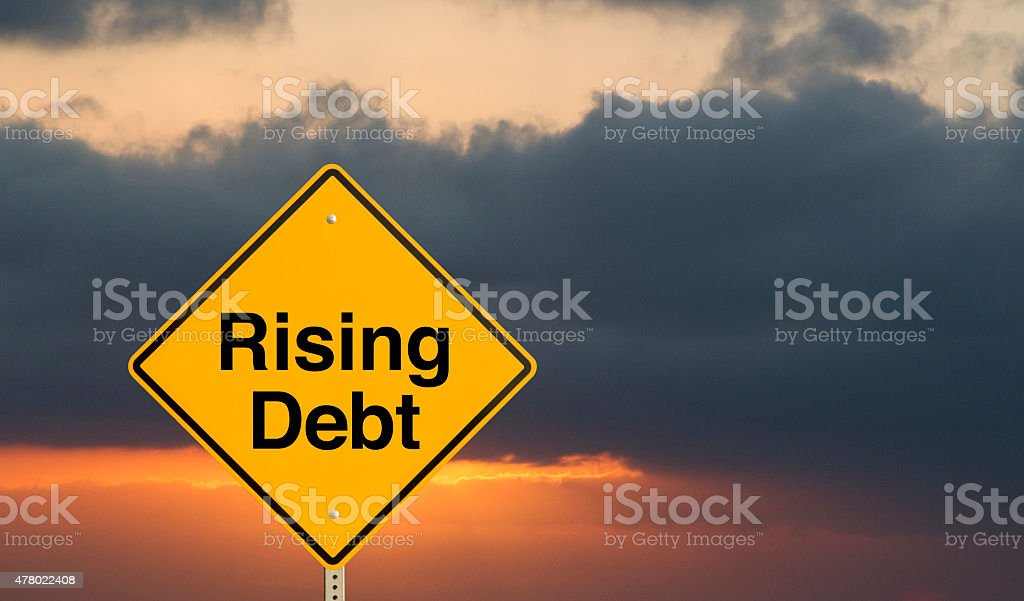 rising debt stock photo