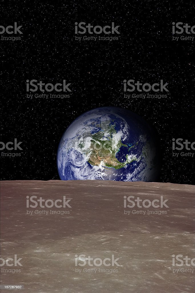 Rising Earth over Moon surface royalty-free stock photo