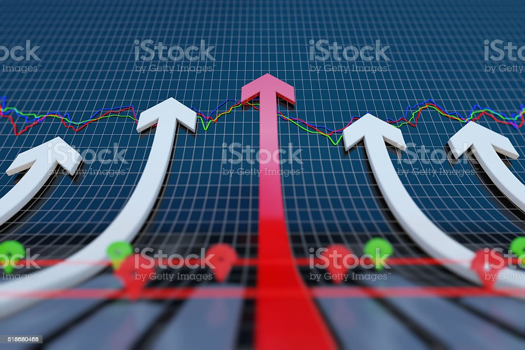 Rising economic arrow stock photo