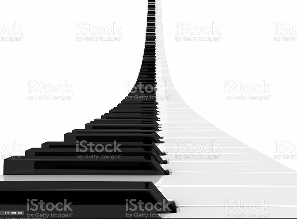 Rising piano keyboard render stock photo