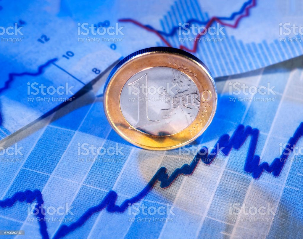 Steigender Kurs des Euro stock photo