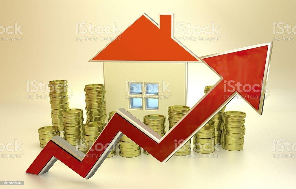 rising real estate prices stock photo