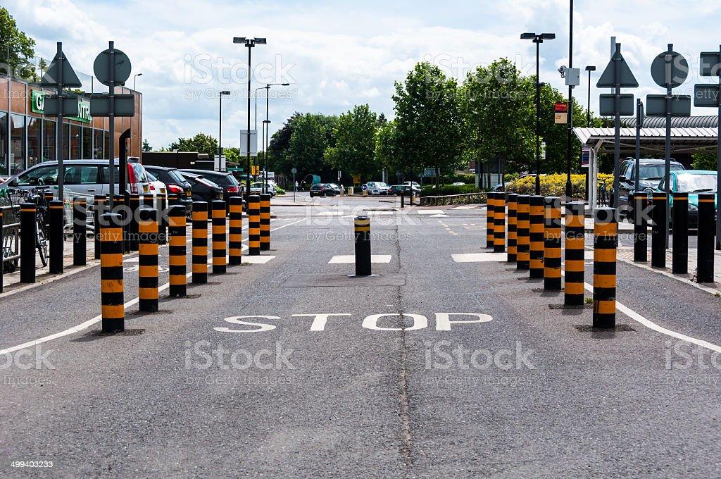 Rising retractable traffic bollards stock photo