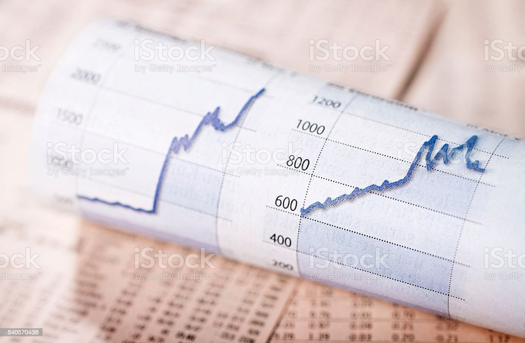 Rising share prices stock photo