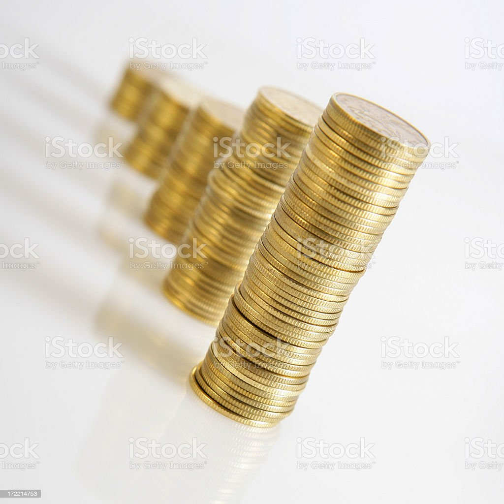Rising stacks of coins royalty-free stock photo