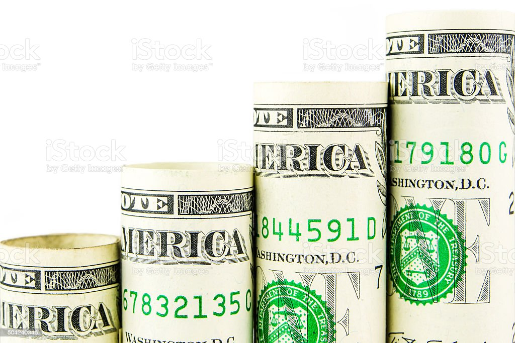 rising steps made of one american dollar banknotes stock photo