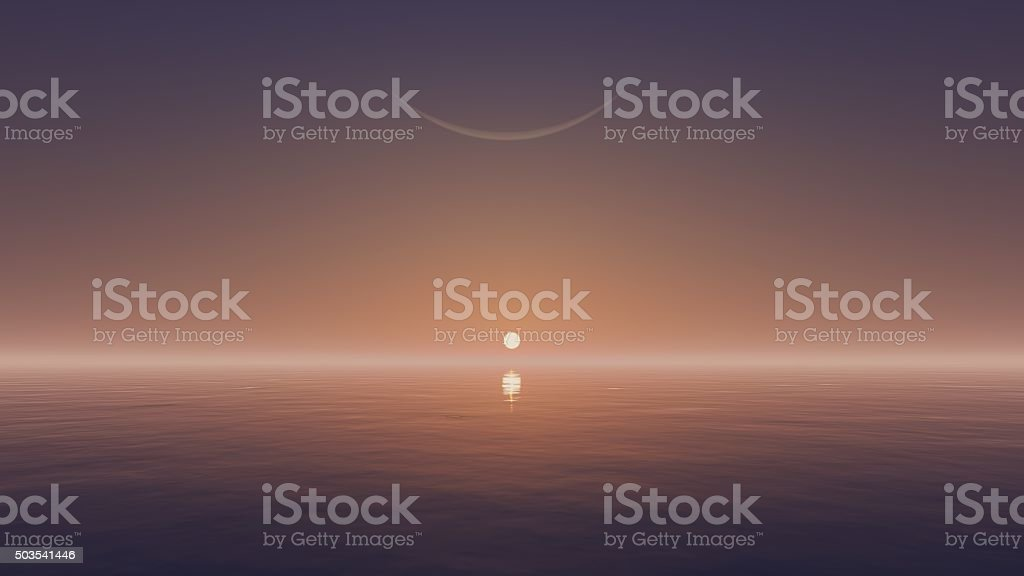 Rising sun and crescent above water surface stock photo