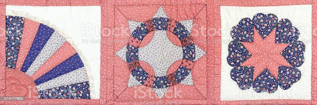 Rising Sun Quilt Block Pattern, Traditional American Needlecraft stock photo