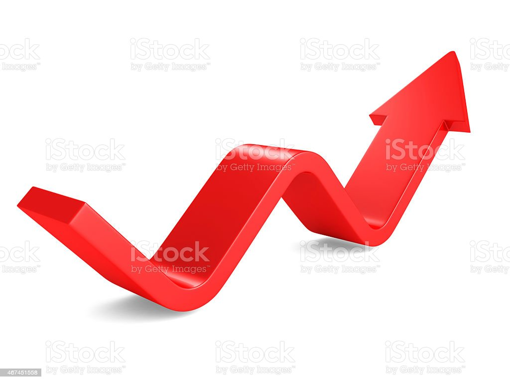 Rising Up Red Wave Arrow On White Background. Success Concept stock photo