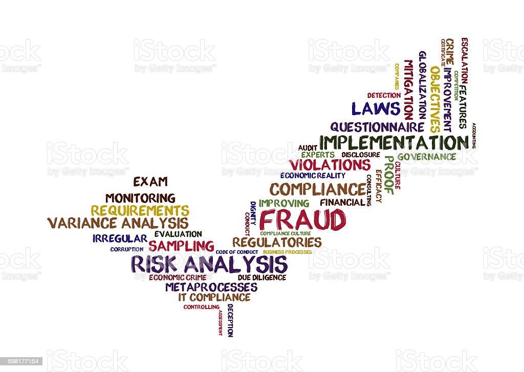 risk analysis word cloud stock photo