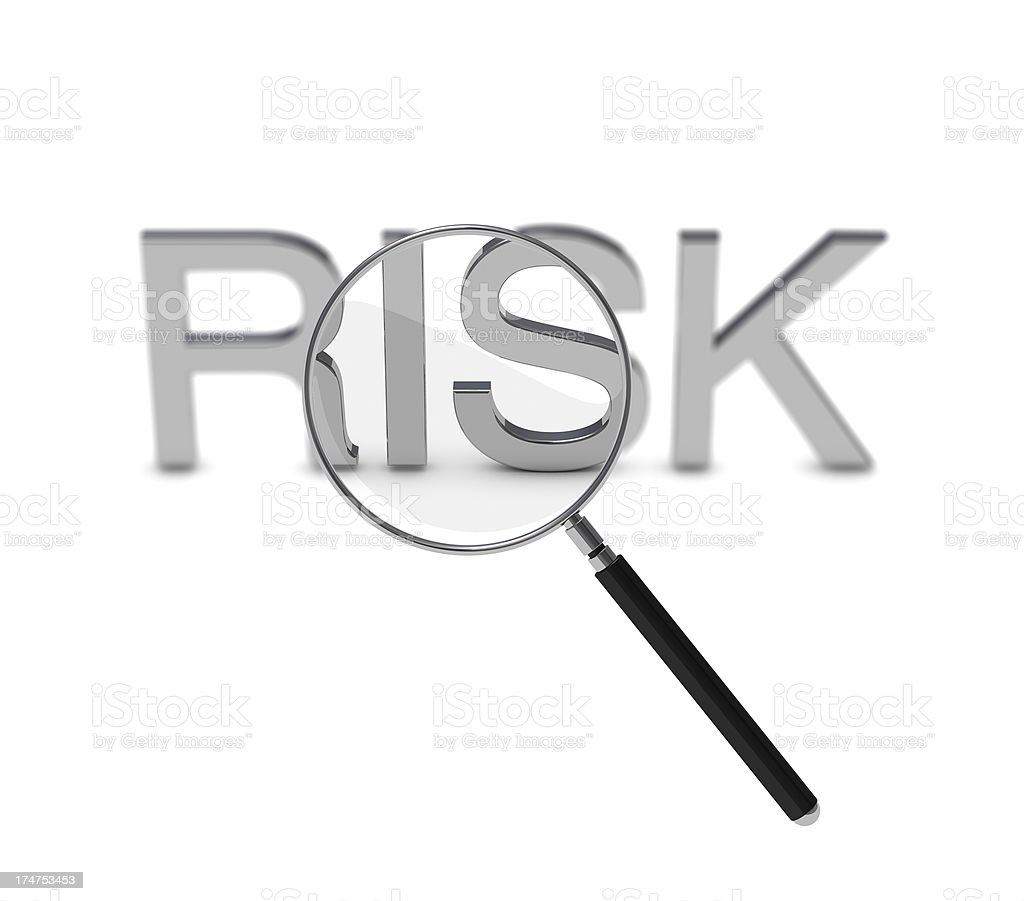Risk assessment with loupe on white background stock photo