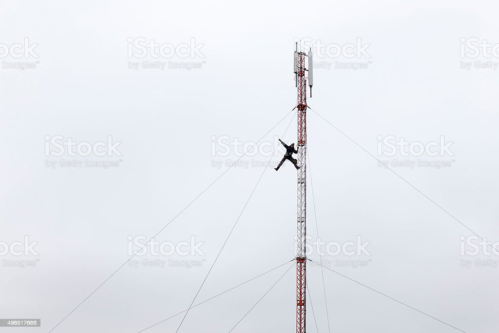 risk at high-altitude works stock photo
