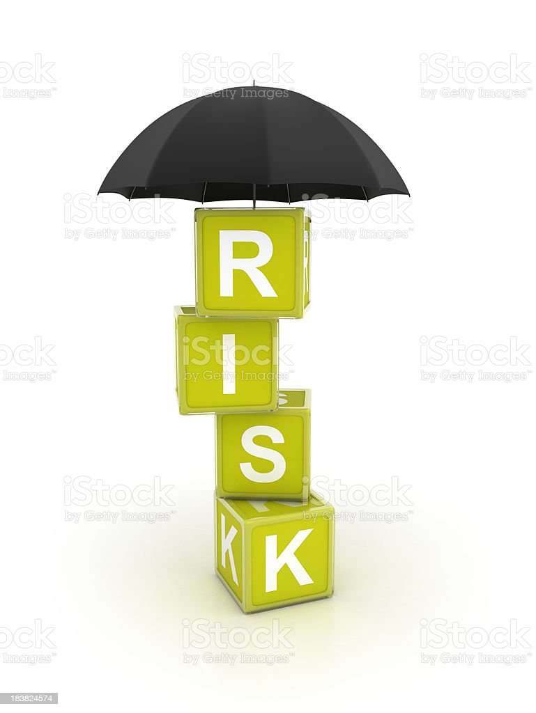 Risk blocks - Umbrella stock photo