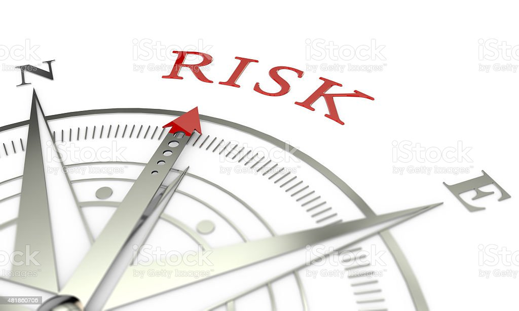 Risk compass direction stock photo