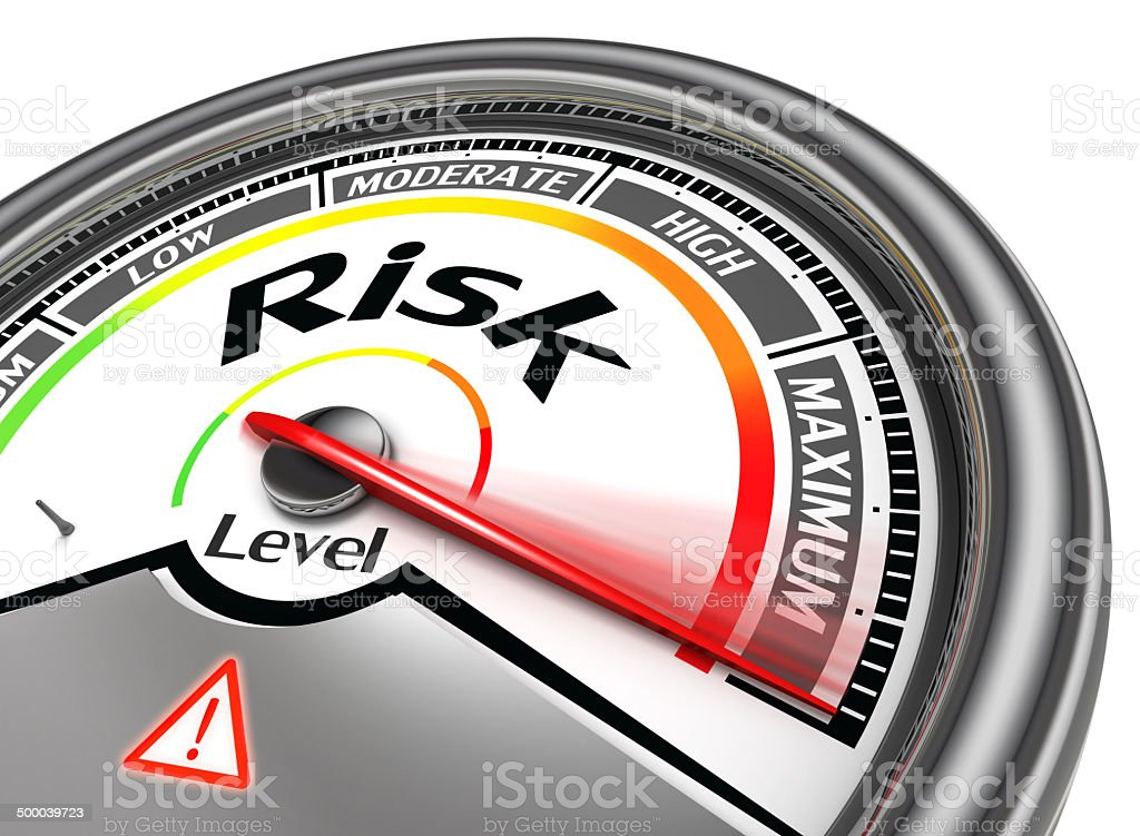 risk level conceptual meter stock photo