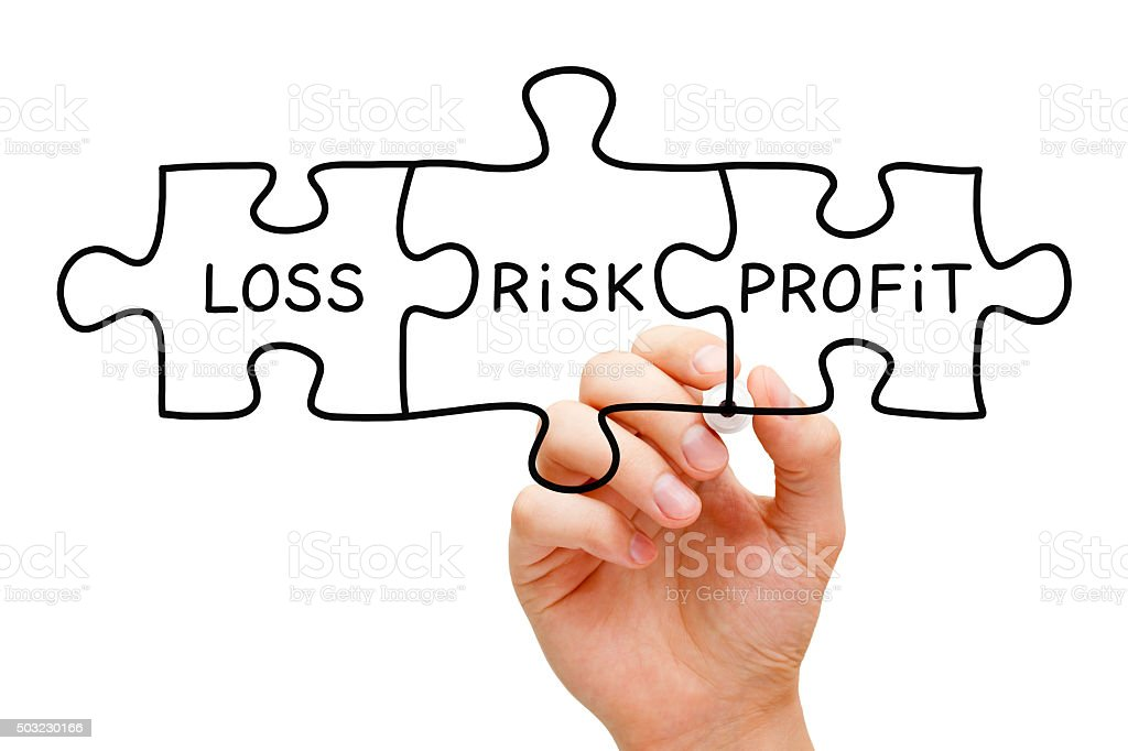 Risk Loss Profit Puzzle Concept stock photo