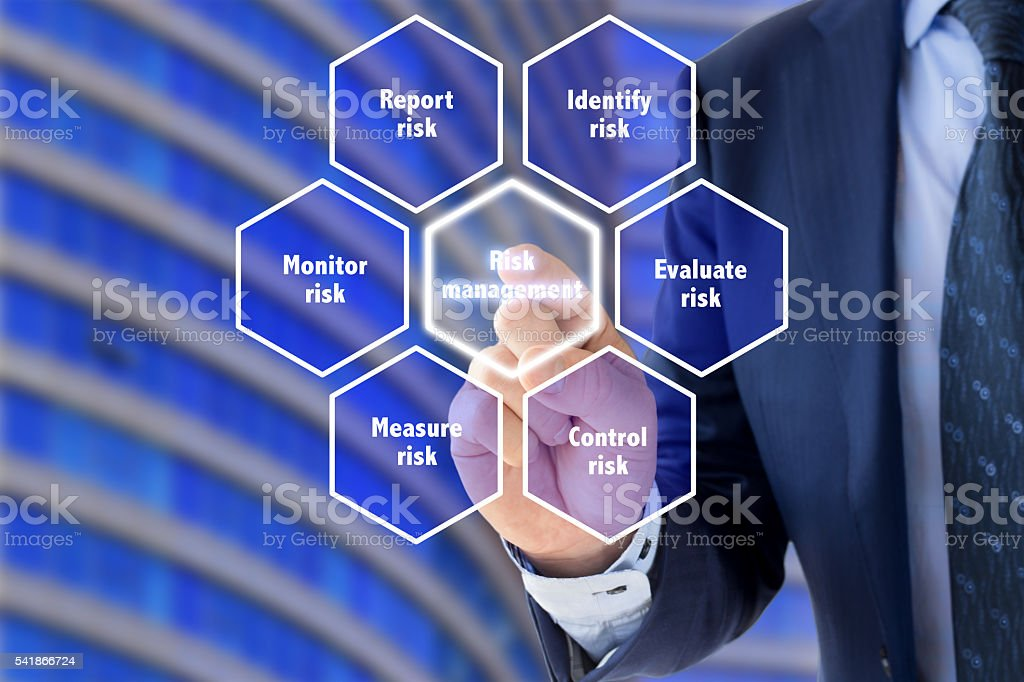 Risk management framework explained by a business expert stock photo