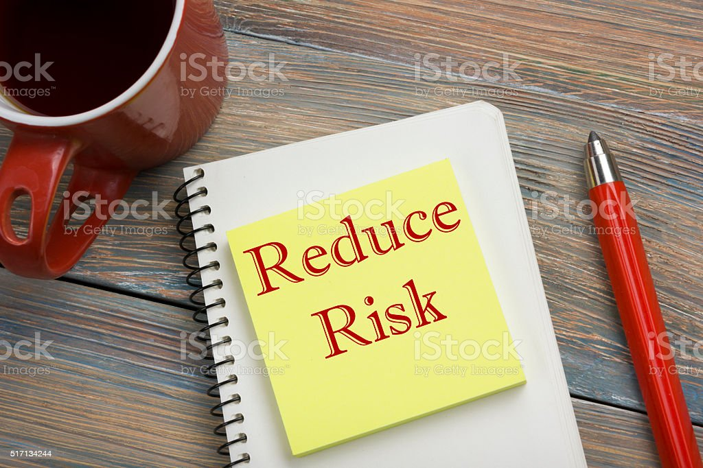 Risk management strategies - avoid, exploit, transfer, accept, reduce, ignore stock photo