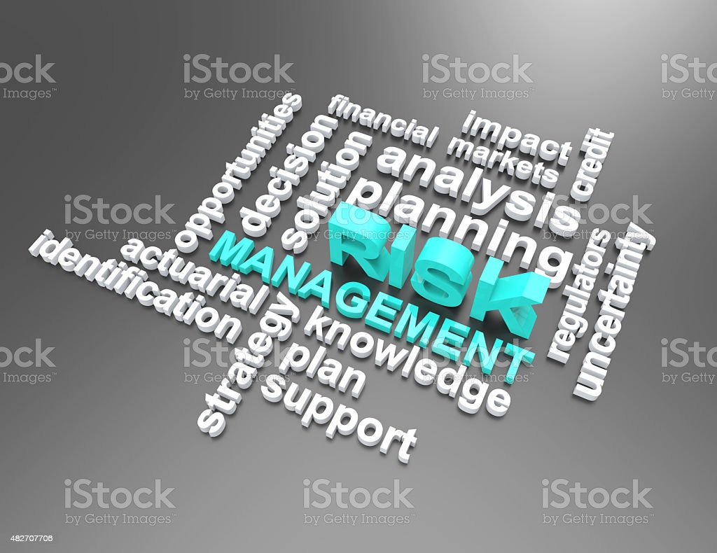 risk management wordclouds 3d stock photo