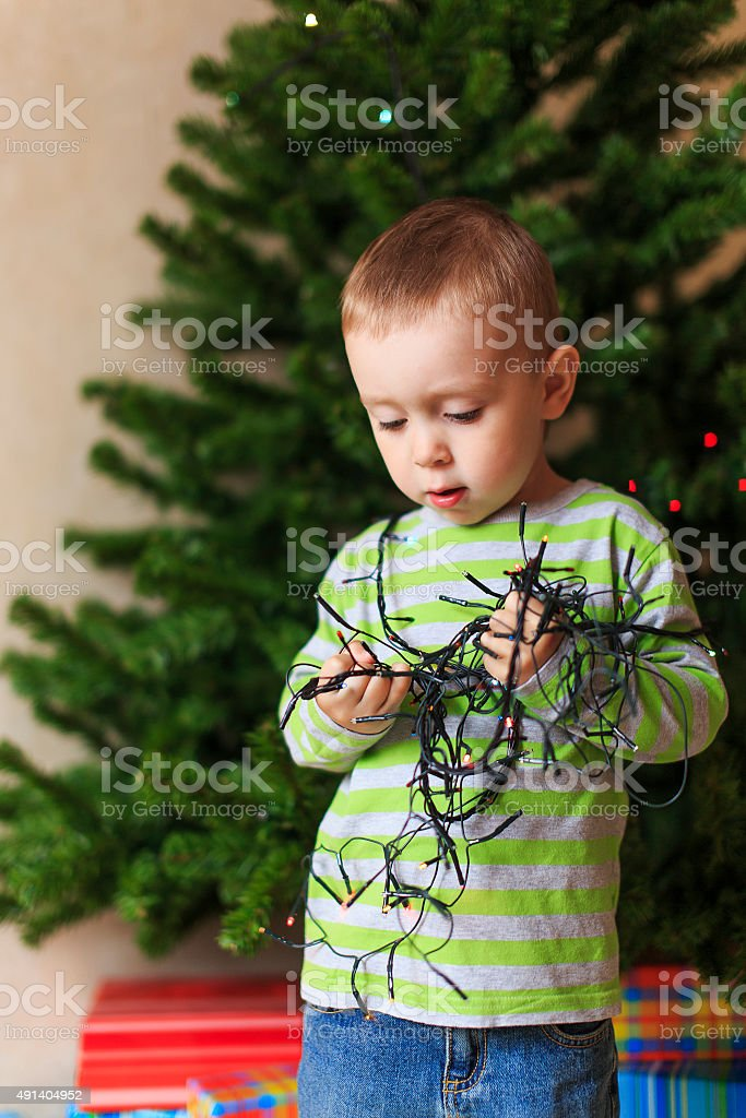 risk of fire at Christmas stock photo