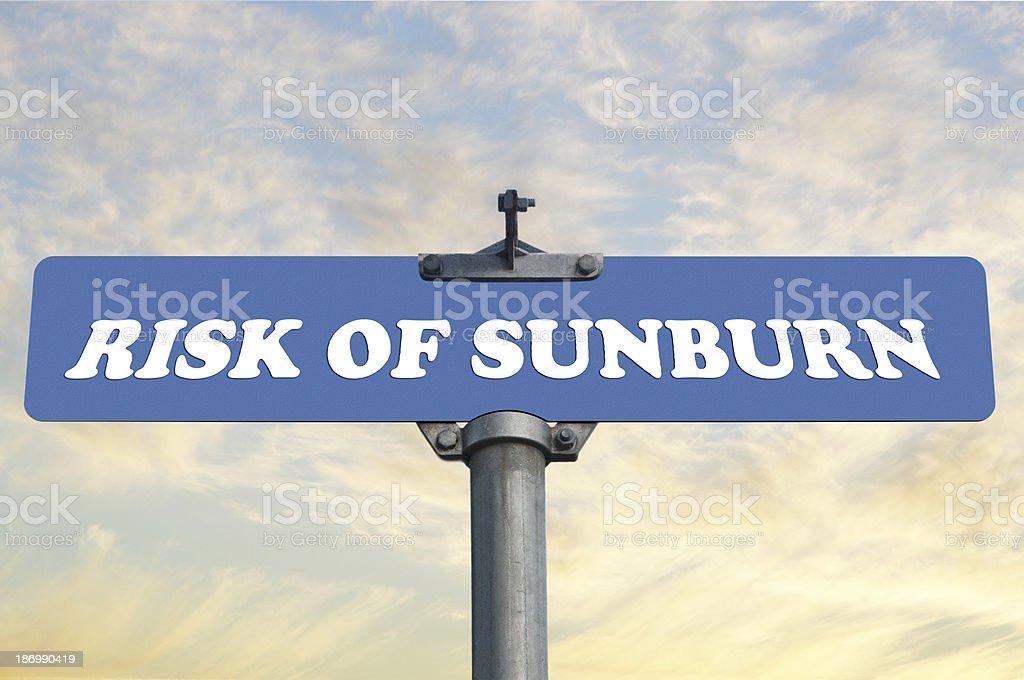 Risk of sunburn road sign royalty-free stock photo