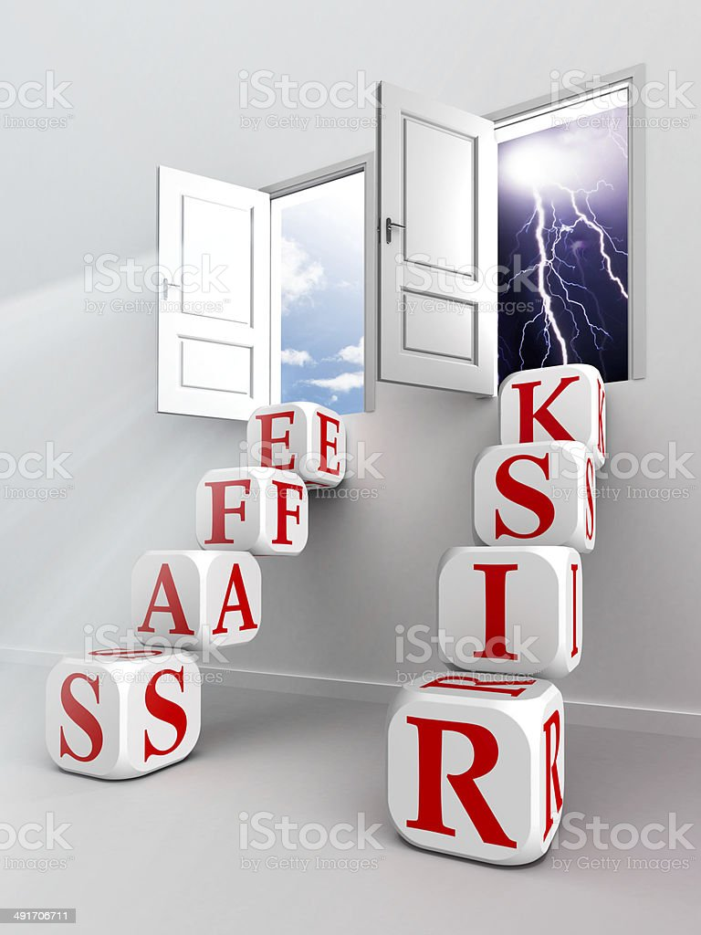 risk safe two ladder paths to doors stock photo