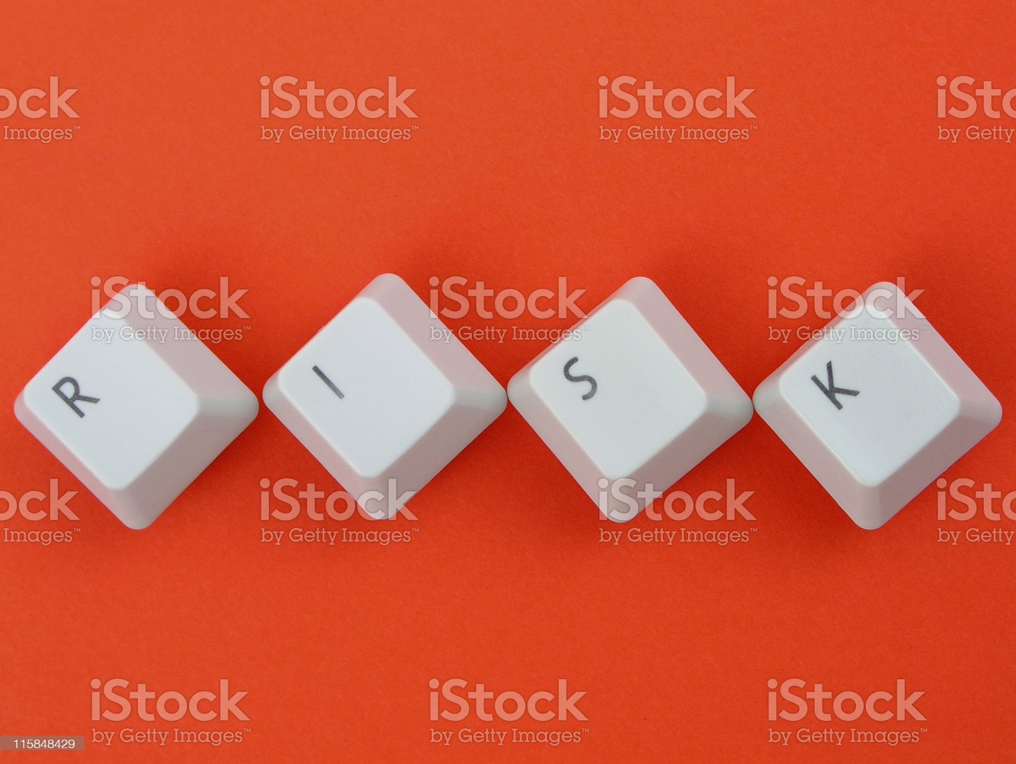 'Risk' spelled out with keyboard keys royalty-free stock photo