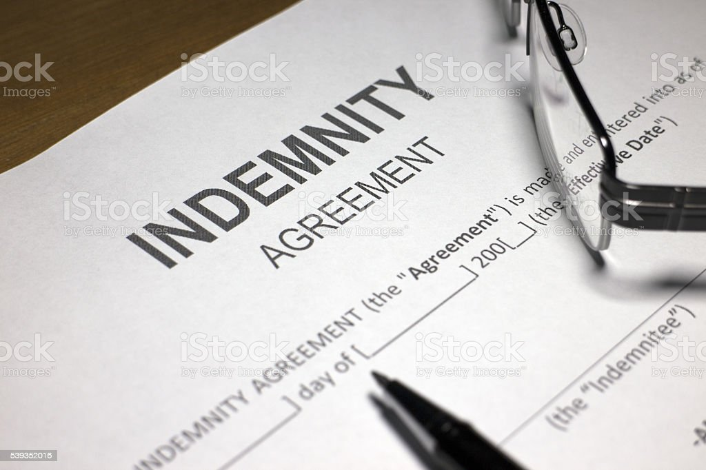 Risk Transfer Contract  - Indemnity Agreement stock photo