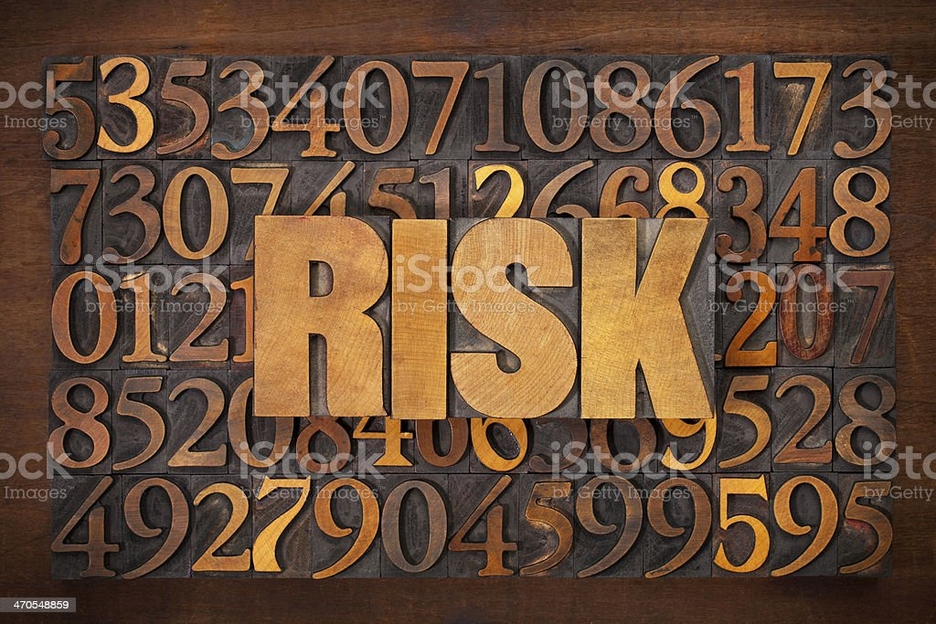 risk word in wood type stock photo