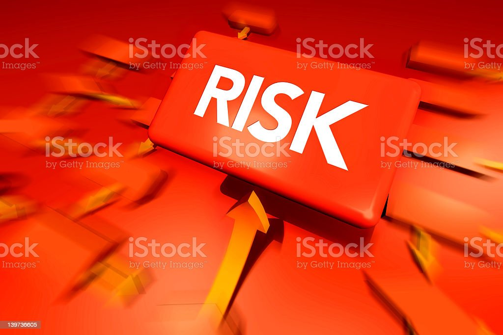 Risk word on red workflow label stock photo