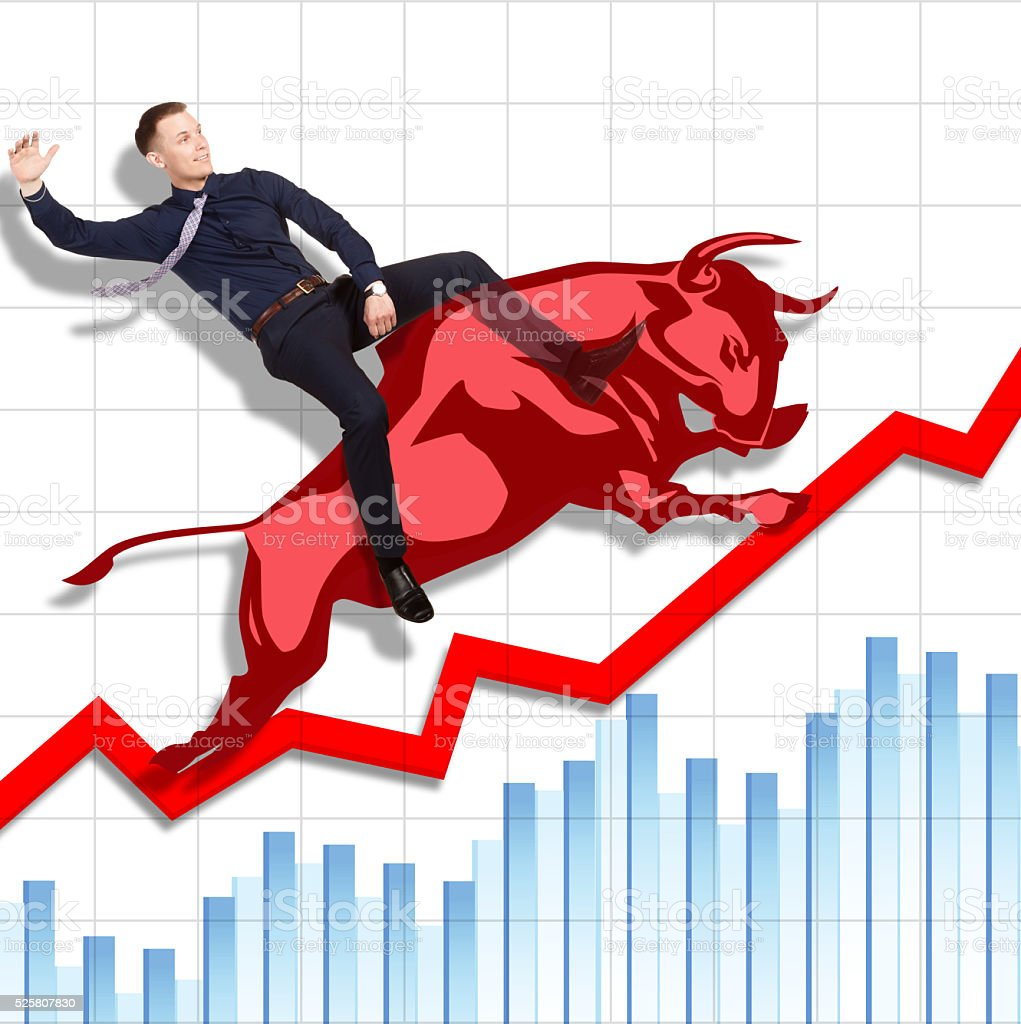 Risky but successful rodeo on Stock Exchange stock photo