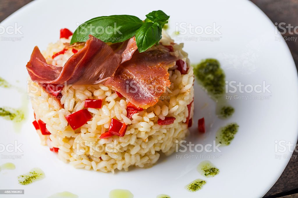 Risotto on a wooden table royalty-free stock photo