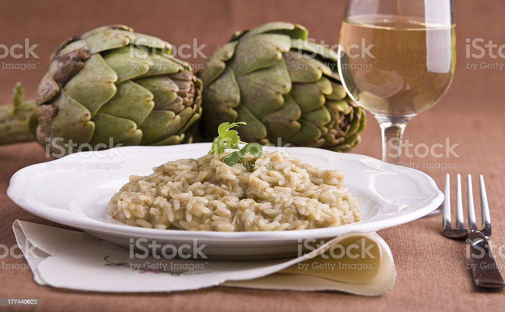 Risotto with artichokes. royalty-free stock photo